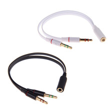 3.5 mm Gold Plated Headphone Earphone Audio Cable Micphone Y Splitter Adapter 1 Female to 2 male Connected Cord to Laptop PC