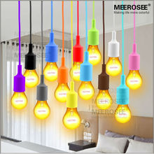 Colorful E27 Socket Pendant Light Suspension Drop Lamp Modern Vintage Edison Bulbs Bar Restaurant Muuto Bulbs not included(China)
