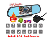 Wifi Android 4 Car DVR GPS Navigation Parking Rear view Mirror Dashcam Dual cameras Camcorder Bluetooth FM 1GB RAM 8GB ROM(China)
