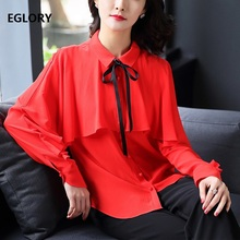 Woman Cape Top New Style Blouse Spring 2018 Womens Batwing Sleeve Red Shirt Elegant Tops Blouses Female Shirts Casual Bluse(China)