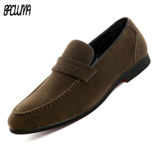 BAOLUMA New Men Loafers Leather Pointed Toe Oxfords Business Brand Dress Shoes Formal Oxford Shoes Men Flats Wedding Shoes