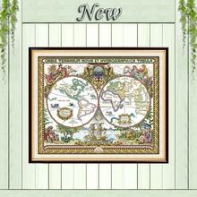 Старая карта мира пейзажи декор живопись Счетный напечатаны на холсте DMC 11ct 14ct комплекты китайский вышивка крестом вышивка рукоделие Набор(China)