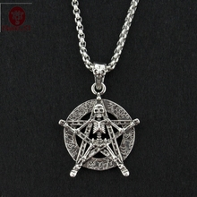 Drop shipping Titanium Steel Antique Silver Pentagram Relief Skull Decorative Patter Pendant Necklace Punk Style Jewelry