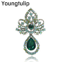 Youngtulip 2 Color For Choose Fashion Crystal Flower Brooches For Women Water Drop Style Brooch Pin Wedding Party Accessories(China)