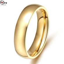 NFS Gold-Color Wedding Finger Ring Class Ring Stainless Steel Wedding Rings For Wen Women High Quality