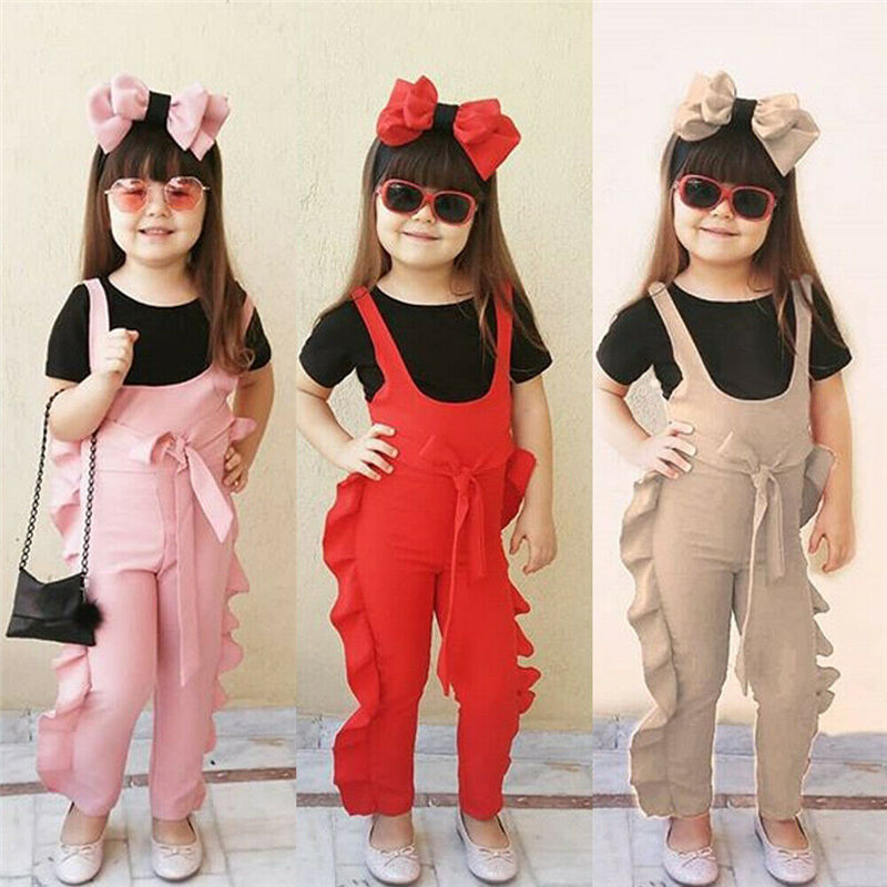 Toddler Baby Girls Kids Long Sleeve Romper Strap Bib Pants Autumn Outfit Clothes