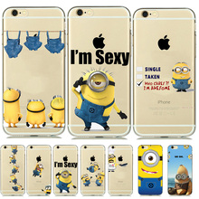 New Cartoon Clear Silicone Minion Case Cover for capinhas iphone 8 7 6 6s 5 5s SE Despicable Me Yellow Minion Phone Covers Para(China)