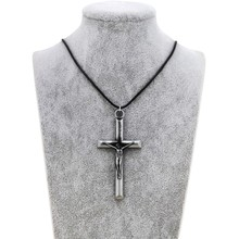 Original New Cross Jesus Choker Necklace Women Vintage Silver INRI Crucifix Prayer Chain Necklace Men Christian Jewelry Gift