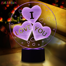 Magical Optical Illusion 3D LED Night Light USB Table Lamp Novelty Atmosphere Light with Touch Botton a Gift for Valentine's Day(China)
