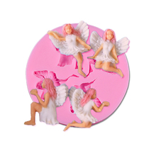 Little Elf Cute Angel Girl Shaped 3D Silicone Fondant Craft Mold Cake Decorating Baking Tool Pastry Soap DIY Ice Chocolate Mould(China)
