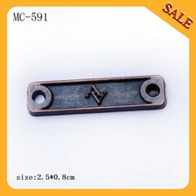 MC591Factory custom zinc alloy antique copper metal logo tags for clothing/scarf(China)