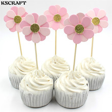 KSCRAFT Pink Flowers Party cupcake toppers picks decoration for Kids Birthday party Cake favors Decoration supplies