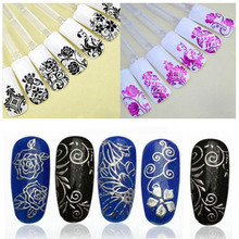 108PCS Sliders Nail Stickers 3D Stickers For Nails Foil Flower Nail Design Manicure Gold Foil Polish Strips Stickers ZJ1106