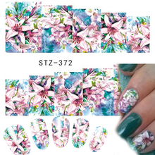 1 Sheets Women Nail Art Designs Watermark Temporary Tattoos Lily Beauty Flower Decals Sticker DIY Craft Foils STZ372