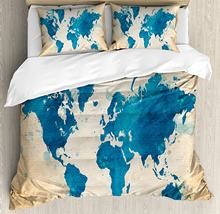 World map bedding promotion shop for promotional world map bedding map duvet cover set artistic vintage world map with watercolor brushstrokes on old backdrop print decorative 4 piece bedding set gumiabroncs Gallery