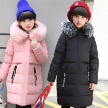 2017 Winter Russia Children Long Section Duck Down & Parkas Girls Down Jackets & Coats baby Winter Fur Collar Outwear -30 Degree