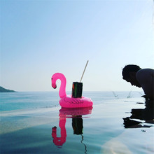 Hot sale Inflatable Drink Cup Holders Mini Flamingo Unicorn Christmas Wedding Birthday Party Supply Swimming Pool Toys(China)