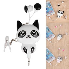 Lovely Cute Cartoon Cat/Panda 3.5mm Wired Retractable Handsfree In-Ear Earphones Earbuds Music Headset MP3 Headphones Hot