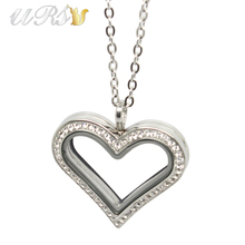 35mm Large Heart Magnetic Closure Czech Crystals 316L Stainless Steel Silver/Gold Floating Memory Glass Locket with Necklace