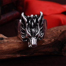 new Wolf Head Domineering Retro Biker Ring Men Jewelry Animal Dragon Rings Anel 1235