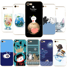 Cute Cartoon Cat Cup Case Thin Slim TPU Cases For iPhone 7 6 6S 5 5S SE 7Plus 6Plus Phone Cover Soft Mobile Phone Cellular