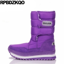 2017 Mid Calf Winter Warm Round Toe Shoes Purple Cheap Big Size Snow Boots Flat Fur Fashion Ladies Chinese Female New(China)