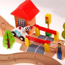 Train tracks 69pcs super Luxury good gift for kids children baby wooden toy(China)