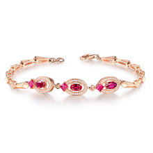 TYME fashion jewelry Copper luxurious nobility creative gold love bracelet red stones Silver ornaments silver h bracelet&bangle
