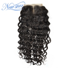 New Star Deep Wave 4x4 Middle Part Closure Virgin Human Hair Natural Color Swiss Lace Bleached Knots Free Shipping