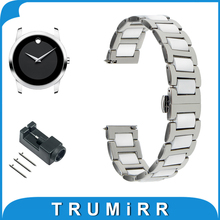 18mm 20mm 22mm Ceramic + Stainless Steel Watch Band for Movado Butterfly Buckle Strap Quick Release Wrist Belt Bracelet + Tool(China)