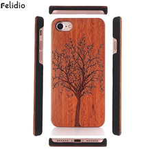 Felidio Tree Carving Wood PC Case for iPhone 8 7 Plus Case Cover for iPhone 6 6s Plus Case Hardcase Luxury for iPhone SE 5s 5(China)