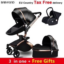 Babyfond  Free Ship! No Tax Luxury 3 in 1 Baby stroller Brand baby PU Leather Pram EU safety Car Seat Bassinet newborn Aulongift(China)