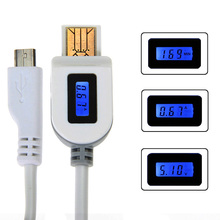 Mirco USB Cable LCD Digital Display Current Voltage Charging Time Data and sync for Samsung Lenovo Huawei ZTE Nexus