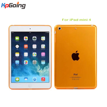 New colorful very soft rubber TPU case for ipad mini 4 gel case skin shell protection back cover for Apple iPad Mini 4 orange