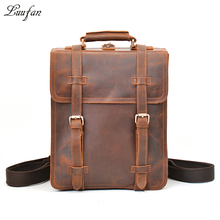 "Men's vintage crazy horse leather rucksack 3 interlayer 14"" Laptop Brown genuine leather backpack thick cow leather school bag(China)"