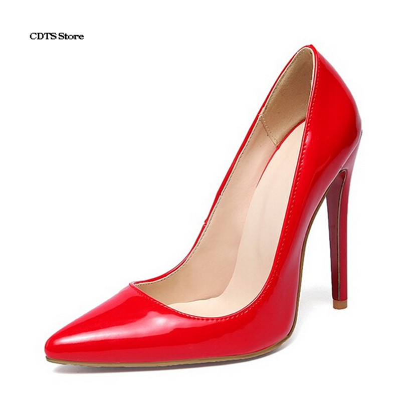 CDTS Plus:34-45 46 Crossdresser Red bottoms shoes woman sexy 12cm thin high-heeled pointed toe womens single Nude wedding pumps<br><br>Aliexpress