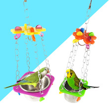 Pet Bird Toys Swing Hanging Feed Bowel Food Colorful Acrylic Cage Tool