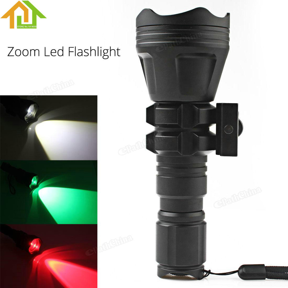 900LM Outdoor Hunting Brinyte Convex Lens XM-L2 U4 LED Tactical Flashlight Torch Zoomable  Flash Light with Red Green<br><br>Aliexpress