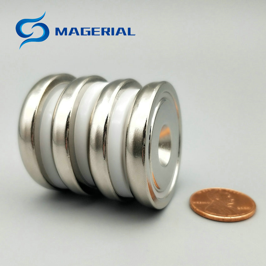 1 pack Mounting Magnet Diameter 36 mm Clamping Pot Magnet with Countersunk Screw Hole Neodymium Permanent Strong Holding Magnet<br>