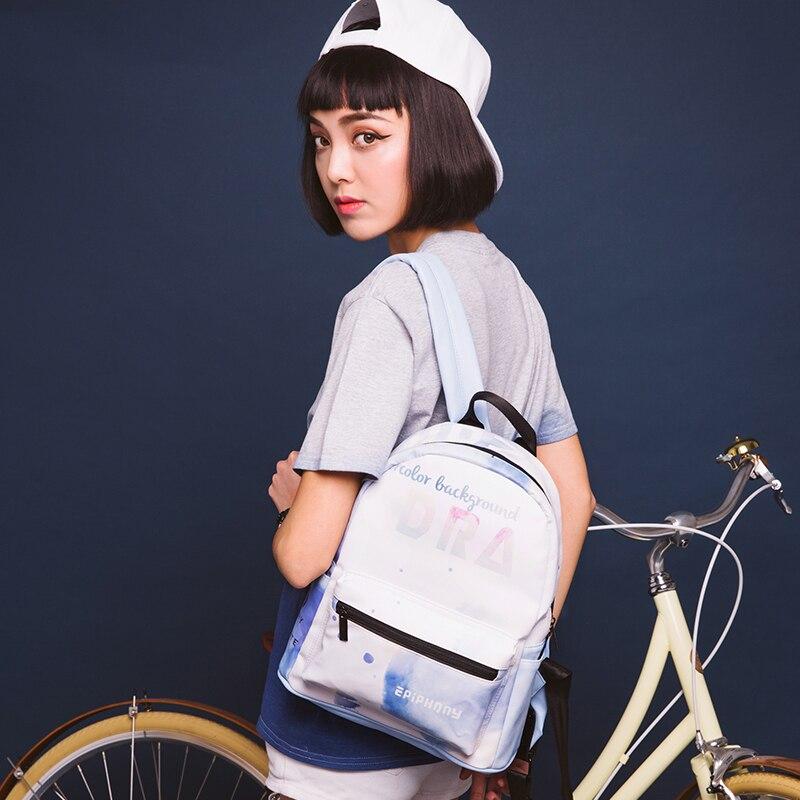 Epiphqny Brand Korean Watercolor Backpacks Small Backpack Waterproof PU Leather Travel Women Backbag Style Leisure Fashionable<br>
