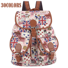 Sansarya 2017 Vintage Canvas Rugzak Printing Backpack Women Drawstring Rucksack Bagpack School Bags for Teenage Girls Back Pack
