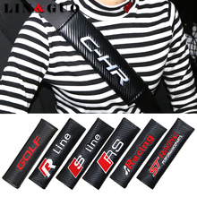 2pcs Car Styling Case For Audi S line RS Seat Racing Ford ST VW Golf Gti Volkswagen Rline Vauxhall Skoda Auto Seat Belt Cover(China)