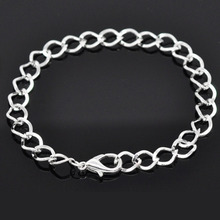 "Doreen Box Silver color Lobster Clasp Link Chain Bracelets 20cm(7-7/8""), sold per pack of 12 pieces (B14183)(China)"