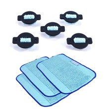 5 Whter Wick Cap + 3 wet Dweeping Mopping cloth pad kit for irobot braava 380t 380 mint 5200 5200c Robot Replacement patrs