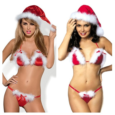 Women Hot Erotic Sexy Christmas Plush Underwear Sets Red White Bra + G String Sexy Erotic Lingerie Sets