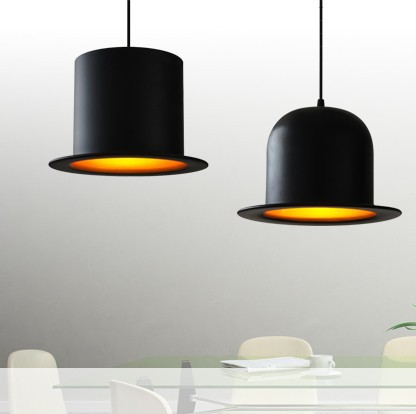 Classic style lamp black outside and golden inside Jeeves Wooster Top hat pendant lights aluminum indoor hat lamps<br>
