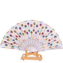1 Pcs Foldable Shining Sequins Hand Fan Fabric Decor 10 Colors Fans home decoration accessories(China)