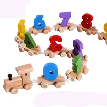 81*5*3CM 0.25KG Small Number 0-9 Figures Train Toy Wooden Educational Kids Math Toys For Children Birthday Gift For Kid Baby Toy
