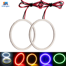 YM E-Bright 2Pieces(1pair) COB Angel Eyes Auto Halo Rings 70MM 12V 7CM Car Headlight Motorcycle White Blue Red Amber Green(China)