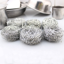 Hot 6PCS/LOT Kitchen Stainless Steel Pot Bowl Brush Home Kitchen Clean Wash Cleaning Ball Effective Scrubbing Cleaner Sets